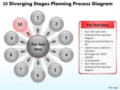 10 Diverging Stages Planning Process Diagram Circular PowerPoint Slides