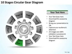 10 Stages Circular Gear Diagram Business Plan PowerPoint Templates