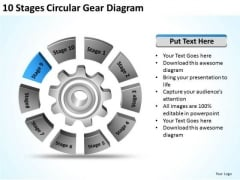 10 Stages Circular Gear Diagram Business Plans Outline PowerPoint Templates