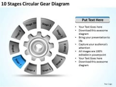 10 Stages Circular Gear Diagram Ppt Business Plan PowerPoint Template