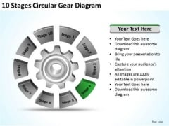 10 Stages Circular Gear Diagram Ppt Create Business Plan Free PowerPoint Templates