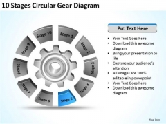 10 Stages Circular Gear Diagram Ppt Develop Business Plan PowerPoint Templates