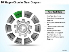 10 Stages Circular Gear Diagram Ppt Retail Business Plan Template PowerPoint Slides