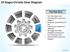 10 Stages Circular Gear Diagram Sample Business Plans For Small PowerPoint Slides
