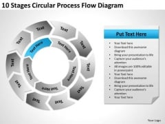 10 Stages Circular Process Flow Diagram Ppt Business Action Plan Template PowerPoint Slides