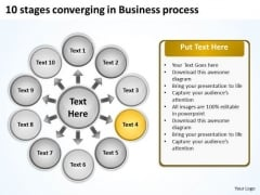 10 Stages Converging Business PowerPoint Theme Process Radial Network Slides