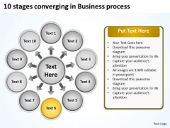 10 Stages Converging Business Process Cycle Layout Diagram PowerPoint Templates