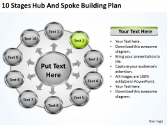 10 Stages Hub And Spoke Building Plan Business Programs PowerPoint Templates