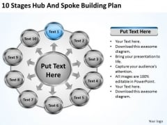 10 Stages Hub And Spoke Building Plan Business Template PowerPoint Slides