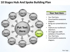 10 Stages Hub And Spoke Building Plan Music Business PowerPoint Templates