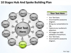 10 Stages Hub And Spoke Building Plan Outline For Business PowerPoint Slides