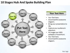 10 Stages Hub And Spoke Building Plan Ppt Business PowerPoint Templates