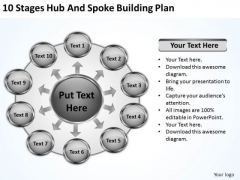 10 Stages Hub And Spoke Building Plan Ppt Buy Business Plans PowerPoint Templates