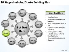 10 Stages Hub And Spoke Building Plan Ppt Magazine Business PowerPoint Templates