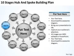 10 Stages Hub And Spoke Building Plan Website Business PowerPoint Templates