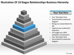 10 Stages Relationships Business Hierarchy Ppt Making Plan PowerPoint Templates