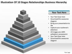 10 Stages Relationships Business Hierarchy Ppt Plan PowerPoint Templates