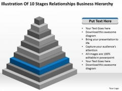 10 Stages Relationships Business Hierarchy Ppt Plan Template PowerPoint Slides
