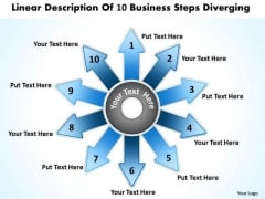 10 World Business PowerPoint Templates Steps Diverging Ppt Cycle Flow Process Slides