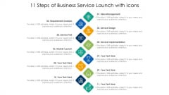 11 Steps Of Business Service Launch With Icons Ppt PowerPoint Presentation Gallery Styles PDF