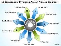 11 Components Diverging Arrow Process Diagram Ppt Circular Layout Network PowerPoint Templates