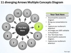 11 Diverging Arrows Multilple Concepts Diagram Circular Network PowerPoint Slides