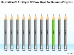 11 Stages Flow Steps For Business Progress Ppt Plan Template PowerPoint Slide