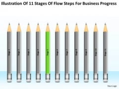 11 Stages Flow Steps For Business Progress Ppt Plan Template PowerPoint Slides