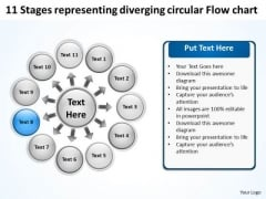 11 Stages Representing Diverging Circular Flow Chart Cycle Layout Network PowerPoint Slides