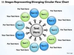 11 Stages Representing Diverging Circular Flow Chart Ppt Cycle Process PowerPoint Templates