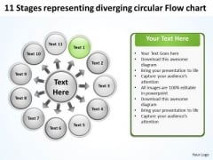 11 Stages Representing Diverging Circular Flow Chart Target Network PowerPoint Templates