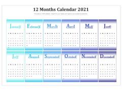 12 Months Calendar 2021 Ppt PowerPoint Presentation Model Good PDF