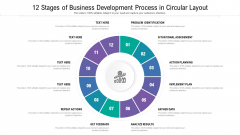 12 Stages Of Business Development Process In Circular Layout Ppt Professional Samples PDF