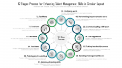 12 Stages Process For Enhancing Talent Management Skills In Circular Layout Ppt Summary Example Topics PDF