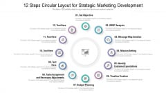 12 Steps Circular Layout For Strategic Marketing Development Ppt Infographics Gridlines PDF