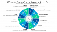 12 Steps For Creating Business Strategy In Round Chart Ppt Infographics Guide PDF