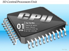 1 3d Central Processors Unit Cpu Gpu Chip Microprocessor Icon On Motherboard Ppt Slides