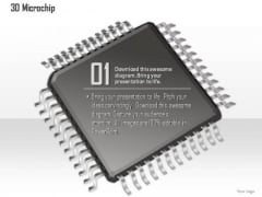 1 3d Image Of A Microchip Microprocessor With Connections Coming Out Cpu Gpu Ppt Slides