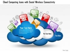 1 Cloud Computing Icons With Social Wireless Connectivity And Different Technologies Ppt Slides