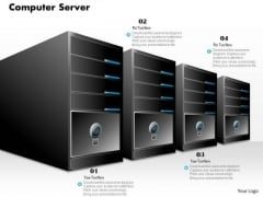 1 Computer Server Stack In A Line With Computer And Power Switch Ppt Slide