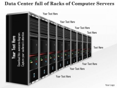 1 Data Center Full Of Racks Of Computer Servers Blades In A Line With Blinking Lights Ppt Slides