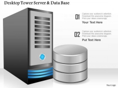 1 Desktop Tower Server And Database By The Side Showing Compute And Storage Ppt Slides
