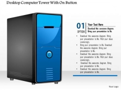 1 Editable Image Of A Desktop Computer Tower With On Button Ppt Slide