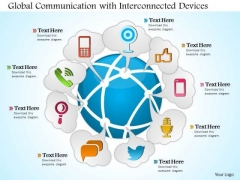 1 Global Communication With Interconnected Devices Surrounding The Earth Globe Ppt Slides
