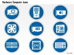 1 Hardware Computer Icons Showing Power Supply Fan Cpu Pcb Memory Chip Pcie Card Ppt Slide