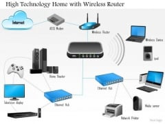 1 High Technology Home With Wireless Router Connected To Every Device Over Ethernet Ppt Slides
