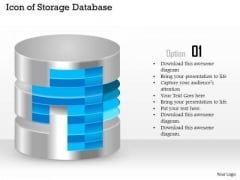 1 Icon Of Storage Database With Layers Shown Ppt Slide
