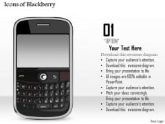 1 Icons Of Blackberry Wireless Mobile Device With Qwerty Keyboard Ppt Slide
