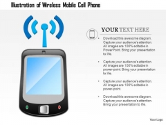 1 Illustration Of A Wirless Mobile Cell Phone Antenna With Signals Ppt Slide