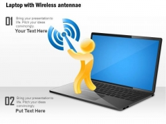 1 Laptop With Wireless Antennae Shown By Man Holding The Antenna Ppt Slide